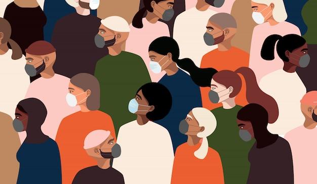 コロナウイルスパンデミック。医療用フェイスマスクを身に着けているさまざまな人々。