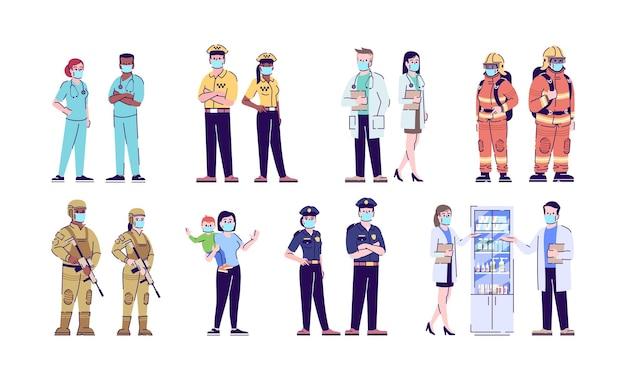 Набор плоских векторных иллюстраций пандемии коронавируса. люди в хирургических масках изолировали набор персонажей мультфильма с контуром на изолированном фоне. защита от вспышек опасных заболеваний, самозащита