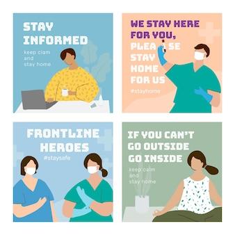 Set di modelli sociali di pandemia di coronavirus vettore coronavirus Vettore gratuito