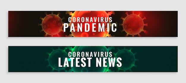 Set di aggiornamenti sulla pandemia di coronavirus e banner delle ultime notizie