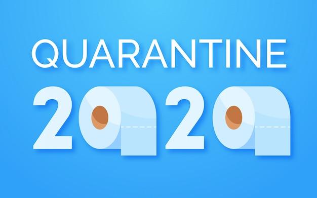 Концепция паники коронавирус 2020. запасаемся туалетной бумагой для домашнего карантина. вспышка паники ковид-19. буквы и рулоны туалетной бумаги на синем фоне