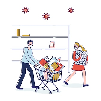 코로나 바이러스 패닉 쇼핑 남자와 음식을 사는 여자