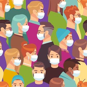코로나 바이러스. 의료 마스크 벡터 군중 원활한 패턴 또는 격리에 대한 배경에 있는 사람들