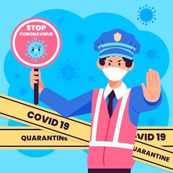 Coronavirus police control concept