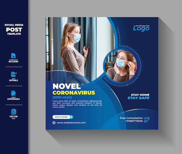 Социальная сеть coronavirus post square баннер covid 19 corona virus
