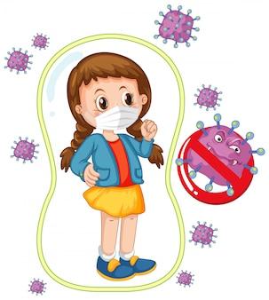 Coronavirus poster design with girl wearing mask
