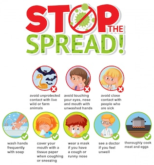 ウイルスを防ぐ方法を備えたコロナウイルスポスターデザイン