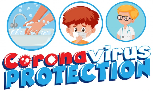 Coronavirus poster design with word coronavirus protection