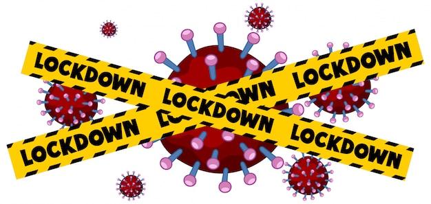 Progettazione del manifesto di coronavirus con il blocco di parole su fondo bianco
