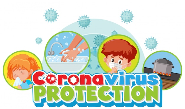 Coronavirus poster design with words coronavirus protection