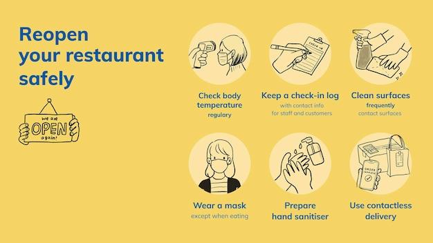 Шаблон слайда powerpoint с коронавирусом, вектор снова открыть меры безопасности в ресторане