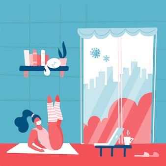 Концепция профилактики коронавируса. девушка делает упражнения. оставайтесь дома, чтобы предотвратить covid-19. социальная кампания и поддержка людей в самоизоляции. современный минималистичный интерьер. плоская иллюстрация