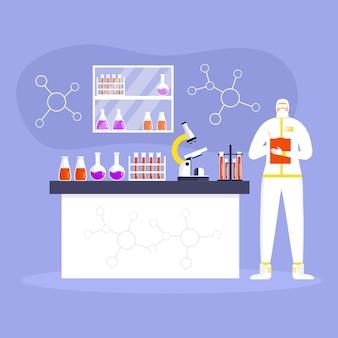 コロナウイルス予防の概念、防護服とマスクを身に着けた男、科学者は研究室で働いています。世界的な流行またはパンデミック。 covid-19、コロナウイルス病。労働者はウイルス検査を行います。ベクター