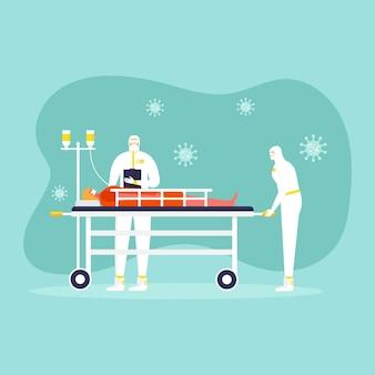 コロナウイルス予防の概念、防護服とマスクの人々、医者。世界的な流行またはパンデミック。 covid-19、コロナウイルス病。化学の労働者はウイルス検査を行います。ベクター