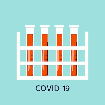 Coronavirus prevention icon test tube with blood. global epidemic or pandemic. covid-19, pneumonia disease. vector