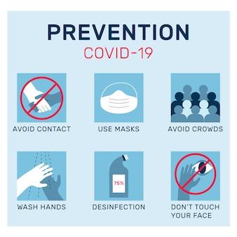 コロナウイルス予防のインフォグラフィックデザイン