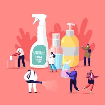 코로나 바이러스 예방 조치 그림. 작은 캐릭터가 항균 비누로 손을 씻습니다