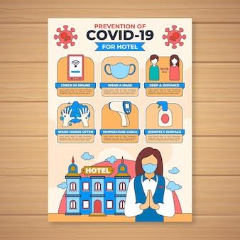 호텔 템플릿에 대한 코로나 바이러스 예방 포스터