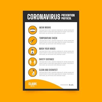 ホテルのコロナウイルス予防ポスター