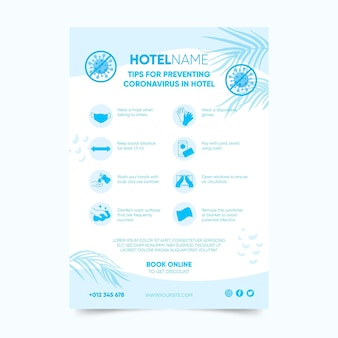 호텔 용 코로나 바이러스 예방 포스터 템플릿