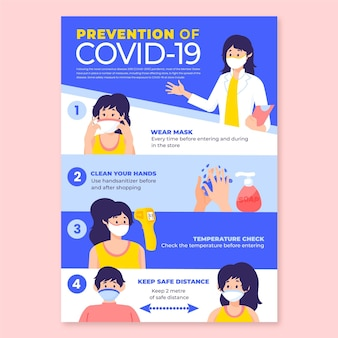코로나 바이러스 예방 포스터