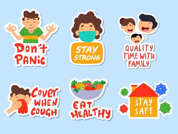 Coronavirus prevention stickers set