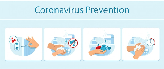 Coronavirus prevention tips like hand pressing the elevator call button with a toothpick, appropriate hands and fruits washing.