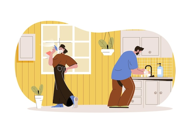 Coronavirus prevention web concept woman in mask disinfects surfaces in house man washes