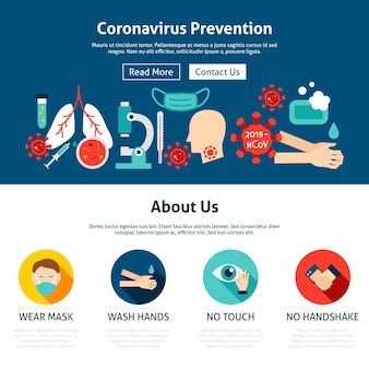 코로나바이러스 예방 웹사이트 디자인. 벡터 일러스트 레이 션. 의료 플랫 웹 개념입니다.