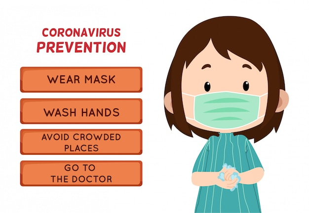 Coronavirus prevention with children character