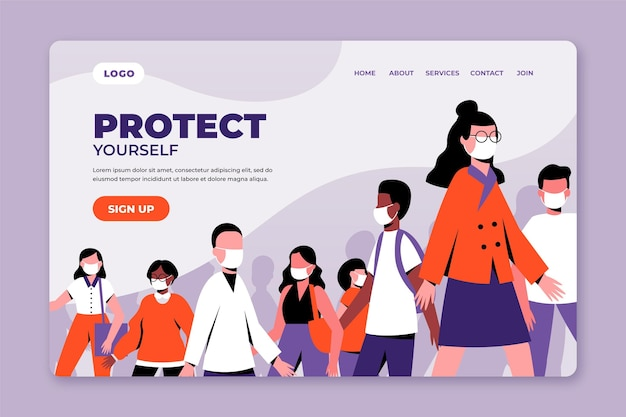 Coronavirus preventions landing page template