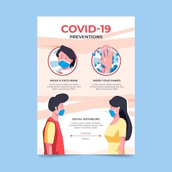 Coronavirus preventions poster template