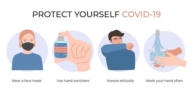 コロナウイルス、covid-19から身を守りましょう。フェイスマスクを着用し、手指消毒剤を使用し、頻繁に手を洗い、倫理的にくしゃみをします。