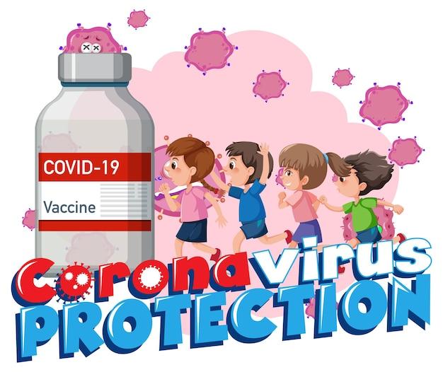 만화 캐릭터가 있는 코로나바이러스 보호 배너