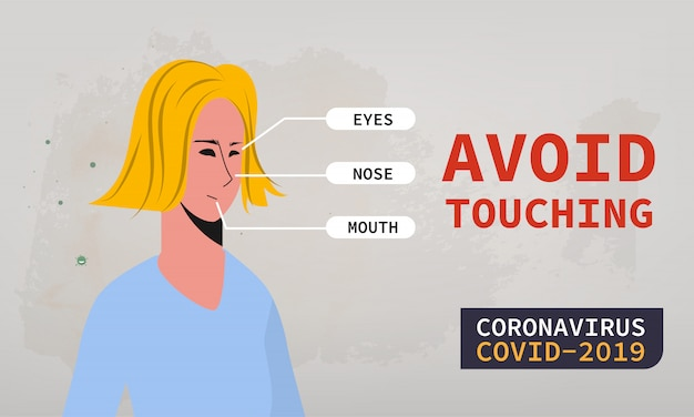 Coronavirus protection by avoid touching eyes, nose, mouth. fight to covid-19.