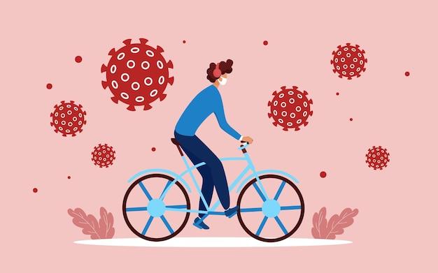 漫画の男のサイクリングとコロナウイルス保護の概念