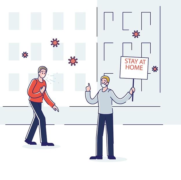 Концепция защиты от коронавируса с мужчиной в маске, предупреждающим больного кашляющего мужского персонажа, чтобы тот оставался дома