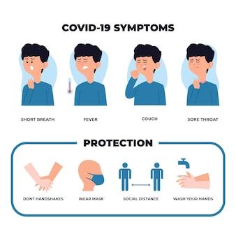 Coronavirus protezione infografica con ragazzo