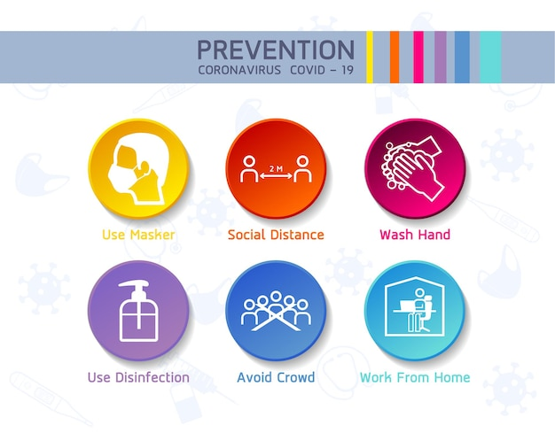 아이콘이있는 코로나 바이러스 보호 인포 그래픽