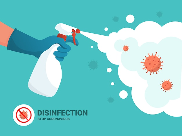 Коронавирус защита. человек в перчатках держит бутылку антисептического спрея. антибактериальная колба убивает бактерии. концепция дезинфицирующего средства. плоский дизайн гигиена дома и личная гигиена. стоп ковид-19