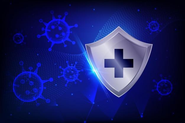 Coronavirus protection shield background Free Vector