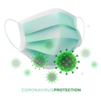 코로나 바이러스 보호 용품. 화이트 컨셉 일러스트입니다.