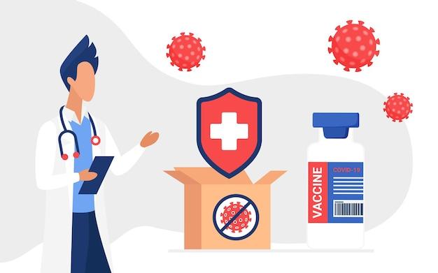 医師によるコロナウイルス防御ワクチン接種の概念とワクチン付きの配達ボックス