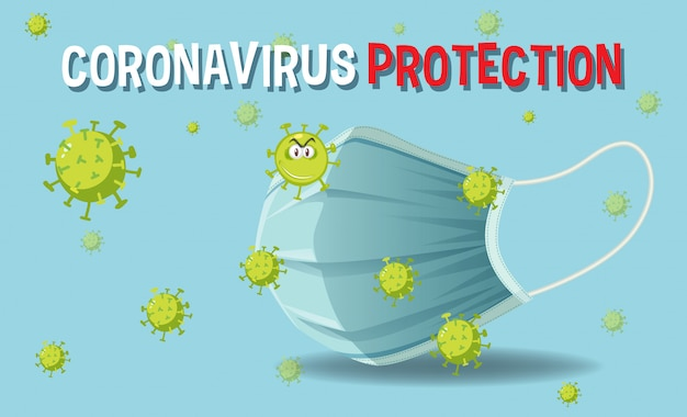 暗い青色の背景にマスクとコロナウイルスによるコロナウイルス保護