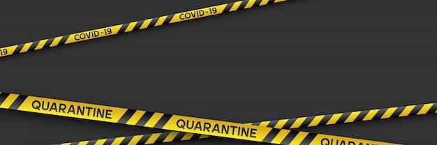 Coronavirus quarantine banner with stripes.