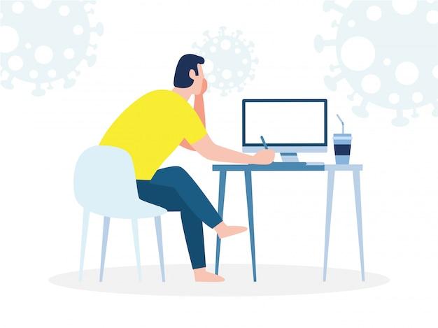 Коронавирусная концепция карантина. человек, работающий дома. мужчина сидит и работает на ноутбуке. люди с компьютером, предотвратить распространение инфекции, изолированных на фоне иллюстрации
