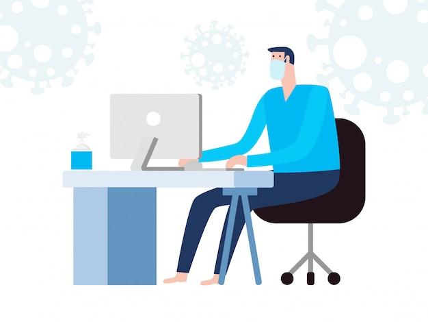 Коронавирусная концепция карантина. человек, работающий дома. сидеть дома, мужчина сидит и работает на ноутбуке. люди с компьютером. предотвратить распространение инфекции на белом фоне