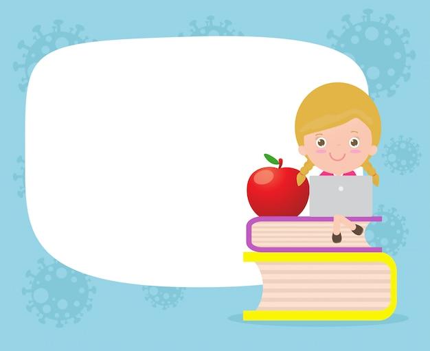 Коронавирусная концепция карантина. онлайн обучение для детей, снова в школу для нового нормального образа жизни и копирования пространства