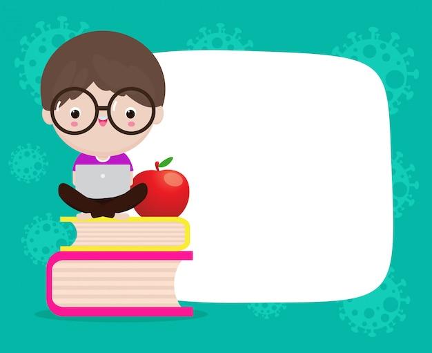 Коронавирусная концепция карантина. онлайн обучение для детей учиться с помощью компьютера, вернуться в школу для нового нормального образа жизни и копирования пространства