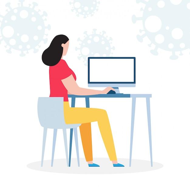 Коронавирусная концепция карантина. женщина, работающая дома. женщина сидит и работает на ноутбуке. люди с компьютером, предотвратить распространение инфекции, изолированных на фоне иллюстрации